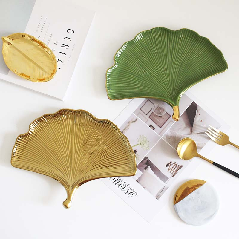 Northern wind fuels the ginkgo biloba ceramic meal of plate jewelry tray home decoration to receive all the product