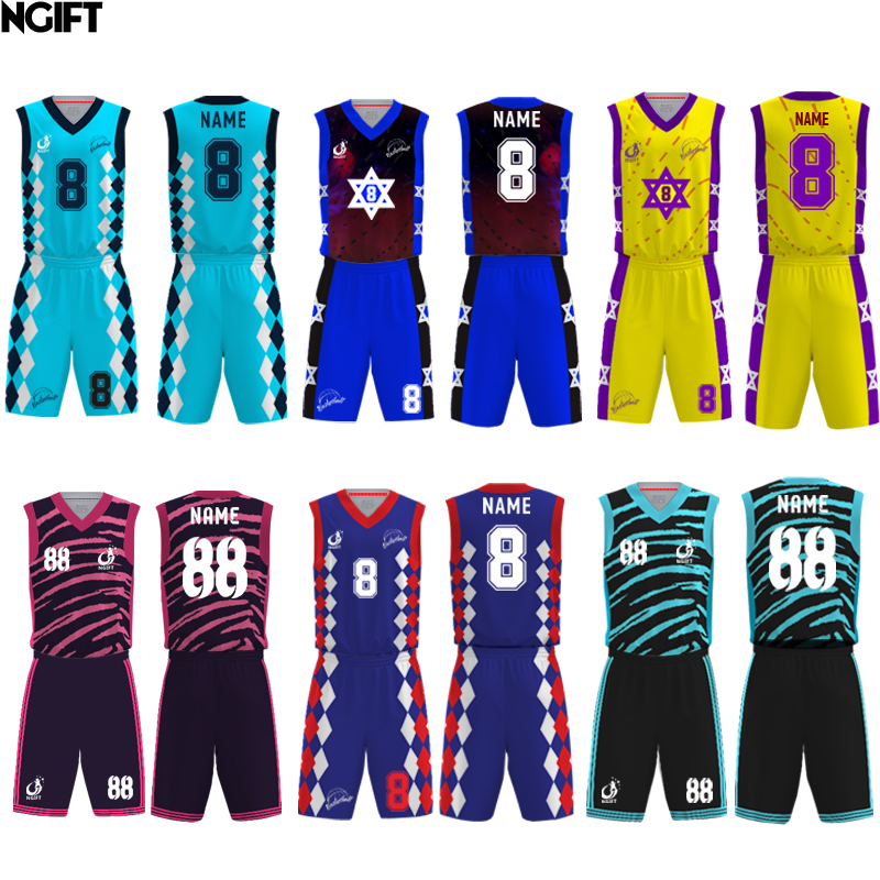 Ngift Sublimation custom basketball jerseys set,wholesale price high school basketball jersey ,any color can be customized team