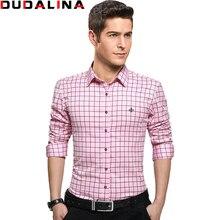 Dudalina 100% Baumwolle Männliches Hemd Herren Langarm-shirt 2017 Plaid Slim Fit Shirt Plus Größe Freizeithemd Männer kleidung