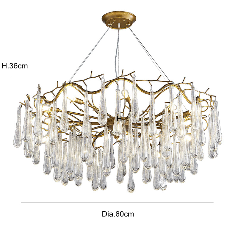 Post Modern creative Chandelie light hand made glass Cracked lampshade Toolery G9 5W LED lamp droplight Living room shop Cafe