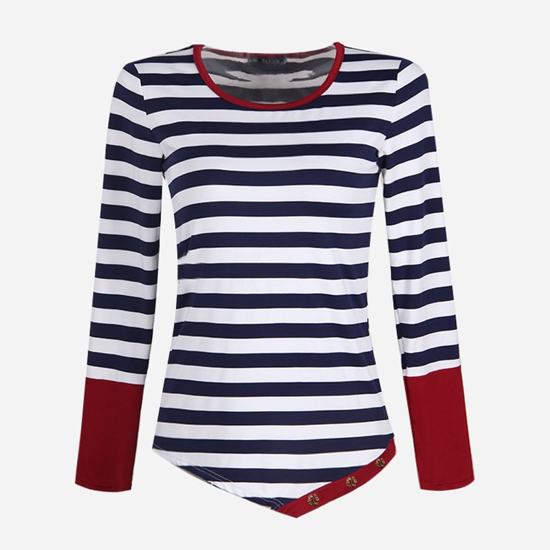 Patchwork-Women-Irregular-Stripe-T-shirts-Women-s-T-shirt-with-long-sleeves-Plus-Size-Casual