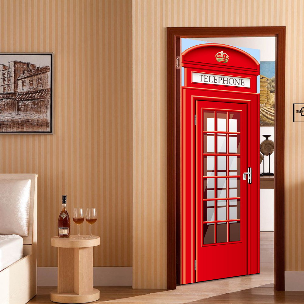 Hot European Telephone Booth Dormitory Living Bedroom Home House Room Wall Decal Door Stickers Wallpaper Home decoration Supply
