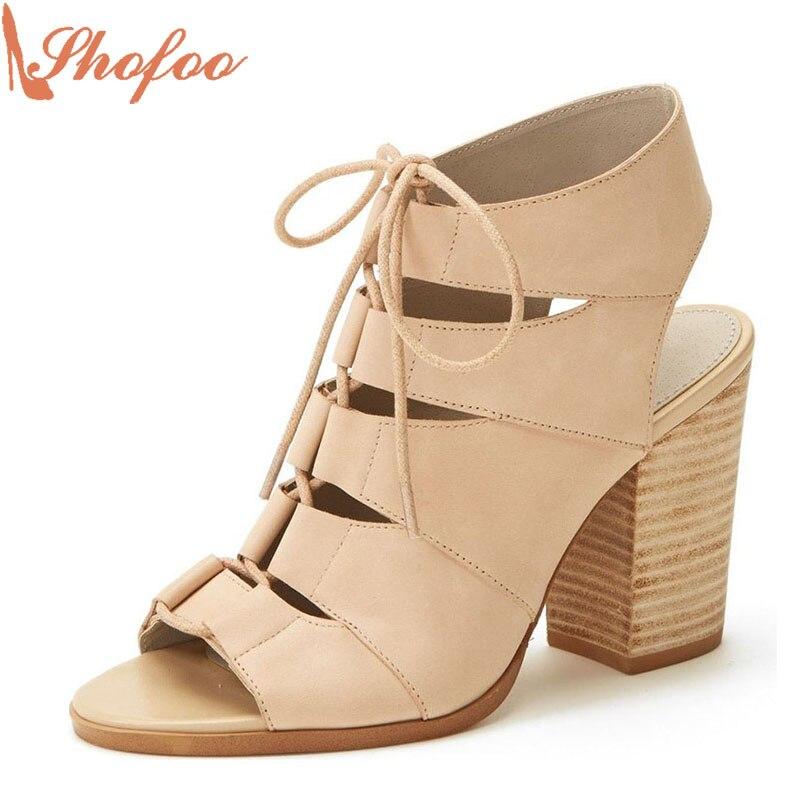 ФОТО Shofoo Fashion Shoes 2017 Luxury Women Cross-Strap High Square Heels Basic Beach Sandals Woman Shoes Khaki,Plus Size 4-16.