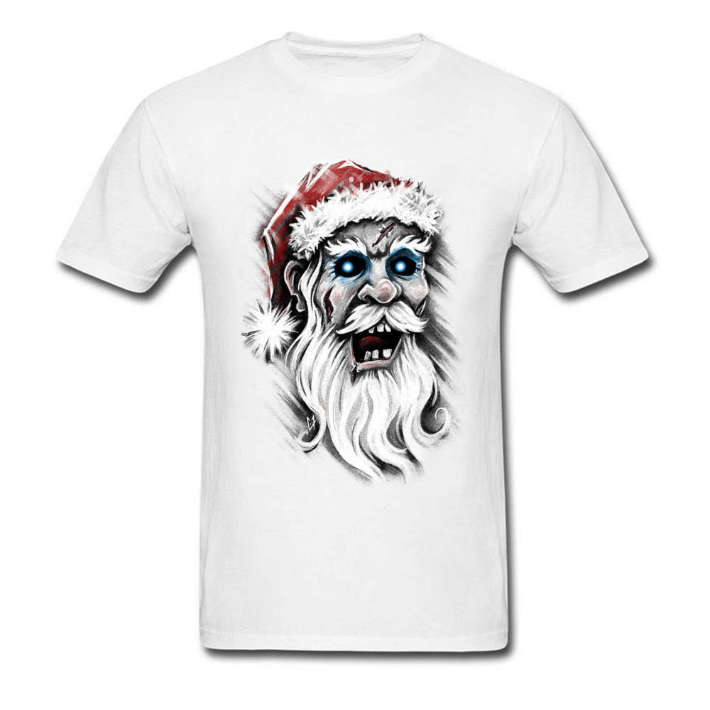 Zombie Santa Claus Birthday T Shirts for Men 100% Cotton Father Day Tops T Shirt Casual Tee-Shirts Short Sleeve Funny O Neck