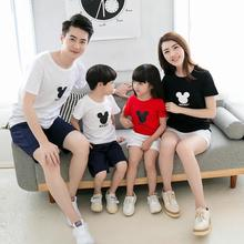 цена на summer family matching outfits mommy daddy and me clothes mother father daughter son cotton t shirts cartoon tees family look