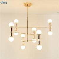 postmodern living room decoration pendant lights Golden Lamp Arm profiled hanging lamp bedroom office bar Luxury light fixture