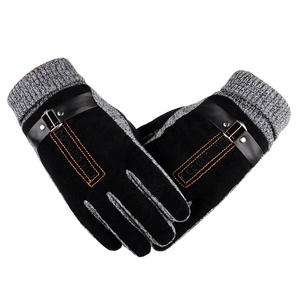Men's winter gloves Leather Winter Mittens Anti Slip Screens Thermal Glove Hand Warmer Woolen Gloves For ggants homme hiver(China)