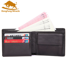 European Style Genuine Leather Men Wallet with Coin Pocket  Wallets for Horizontal Male Purses