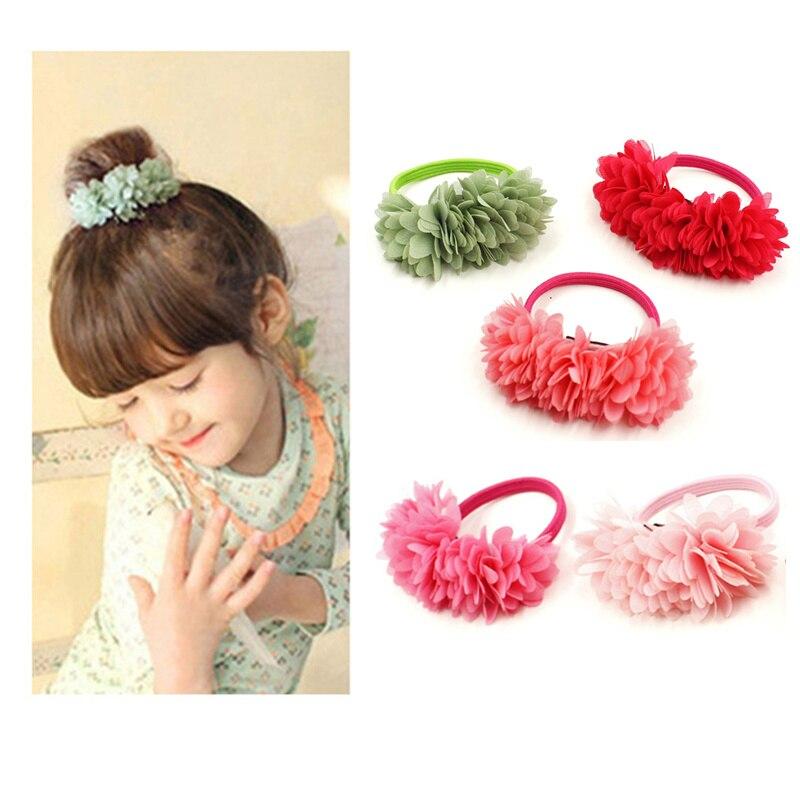 Hot Sale 2018 New Cute Flowers Elastics Hair Holders Bands Gum Fashion Kids Candy Rubber Bands   Headwear   Girl's Hair Accessories