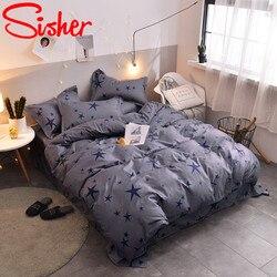 Sisher nordic conjuntos de cama tamanho rainha folha planta floral xadrez listra capa edredão único duplo rei conjunto colcha capa não folha cama