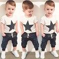 2017 летние дети мальчик одежды хлопка мальчиков одежда устанавливает Печати футболка + кожаные штаны 2 ШТ. наборы мальчики одежды детская одежда