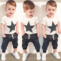 2017 summer kids baby boy clothes cotton boys clothing sets Print t-shirt +leather pants 2PC sets boys clothes children clothing