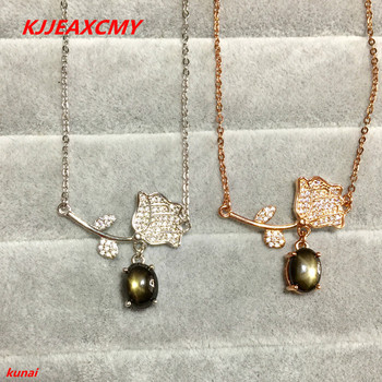KJJEAXCMY boutique jewels 925 silver inlaid with natural leaves, sapphire female Pendant (necklace)bnm