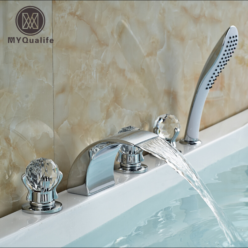 Luxury 3 Cristal Handles Waterfall Bathtub Faucet Bathroom Bath Shower Mixer Taps with Handshower Chrome Finish deck mount single handle waterfall bath shower faucet 3pcs with handshower bathtub mixer taps