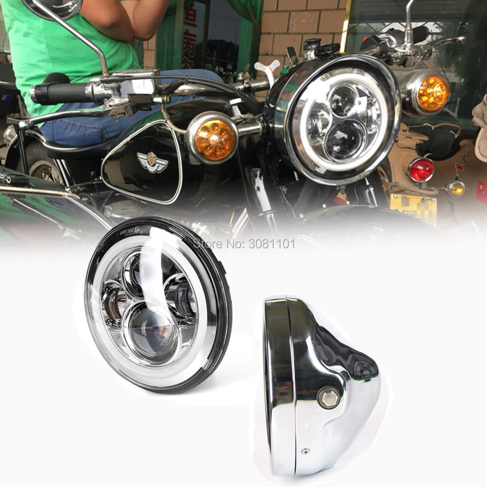 7 LED Headlight Projector Daymaker +Bracket Black/Chrome Aluminum Alloy for 2001-2014 Harley Davidson Heritage Softail etc. black chrome skeleton mirrors for harley davidson softail springer heritage classic