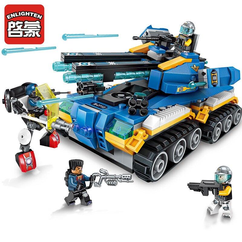 Enlighten High Tech Educational Building Blocks Toys For Children Gifts Military Tank Hero Gun Robot Figures Weapon Stickers