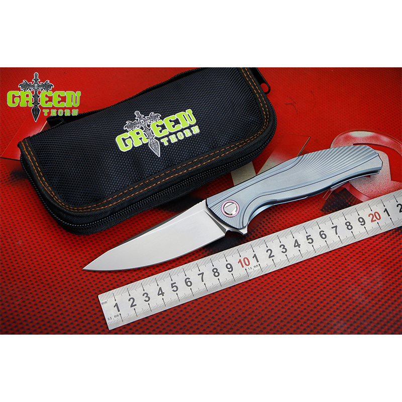 GREEN THORN F7 M390 blade Titanium handle Flipper folding knife Outdoor camping hunting pocke fruit knives