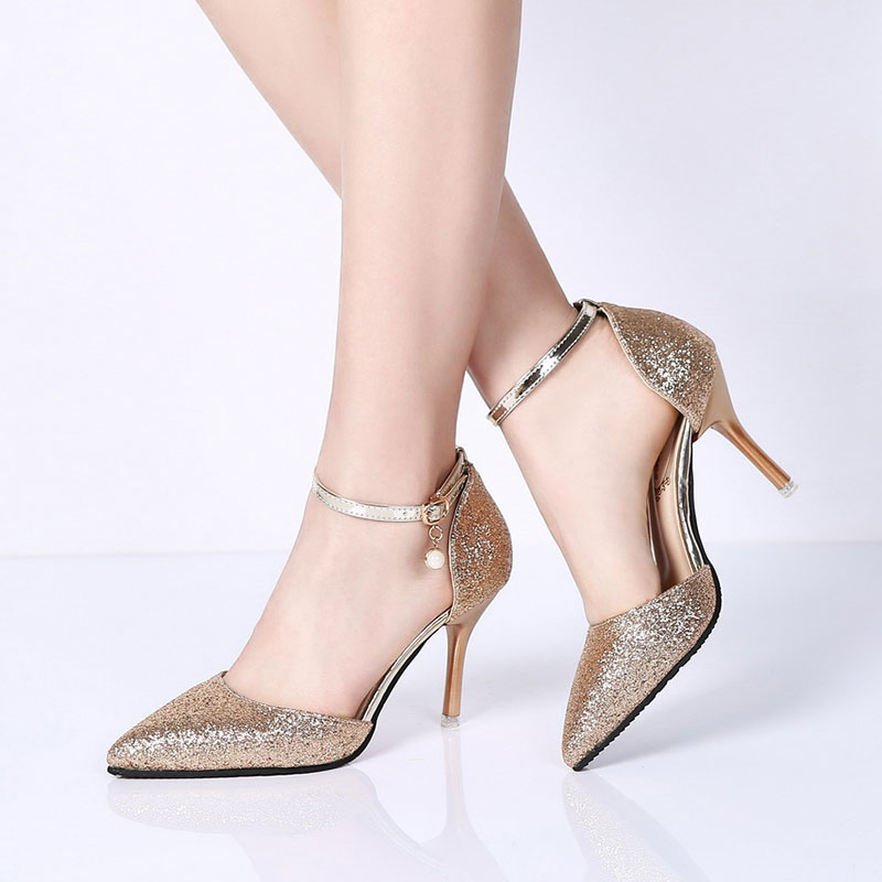 Lucyever Fashion Buckle Crystals Bling Pumps Women Elegant Thin High Heels Point toe Party Wedding Shoes Woman Glod Sliver Black 3