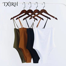 TXJRH Sexy Spaghetti Strap Backless fit Body Siamese Bodysuit ajustado mono ropa interior 4 colores S-L(China)