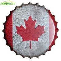 35 см канадский флаг пивная бутылка крышка металлическая жестяная вывеска винтажный домашний декор жестяная вывеска Настенный декор металл...