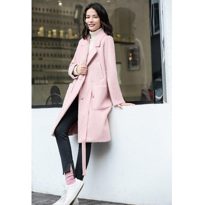 apricot De Épais Automne Pink Femmes Minimaliste Ceinture Coat Doux Woolen 2018 Rubans Long Amii Laine Manteau Hiver Coat Poche Solide Lâche xwIHaPq4qF
