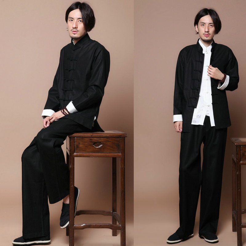 Black High quality Chinese style costume wing chun uniforms Tai Chi Kung Fu jacket dress shirt Chinese kung fu suit цена