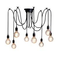 DIY vendimia Nordic Araña Lámpara Colgante Múltiple Ajustable Retro Altillo Luz Colgante Clásico Decorativo Accesorio de Iluminación Casera del Led