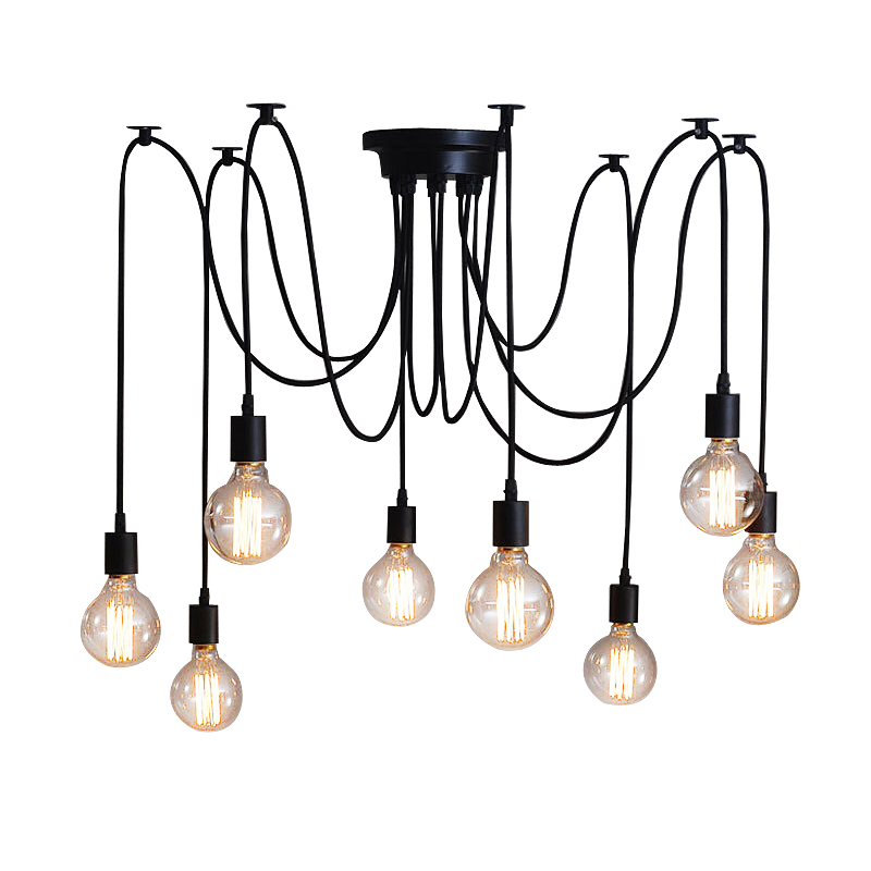 Vintage DIY Nordic Spider Pendant Lamp Multiple Adjustable Retro Pendant <font><b>Light</b></font> Loft Classic Decorative Fixture Lighting Led Home