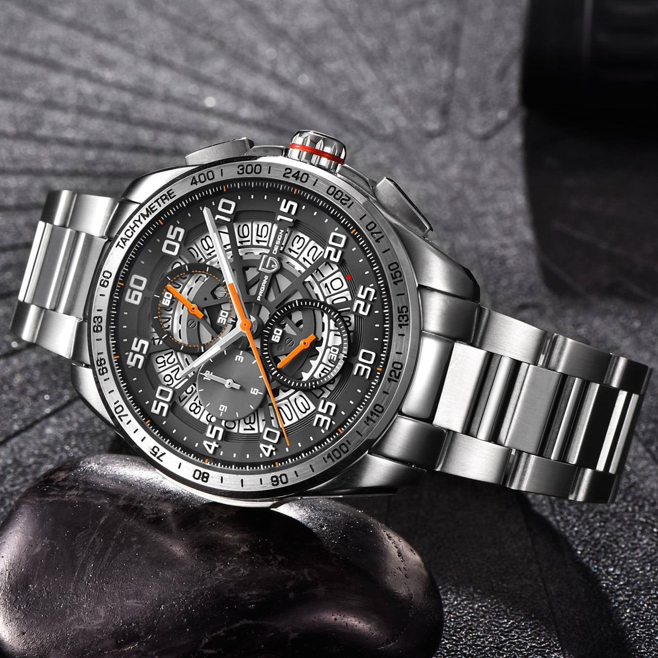 Relojes deportivos de marca de diseño PAGANI para hombre, cronógrafo militar, reloj militar de cuarzo, acero inoxidable, reloj militar para hombre, reloj Masculino, Saat - 3