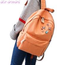 Six senses женщин рюкзак случайные школьные сумки для подростков путешествия рюкзак женская сумка холст рюкзак bolsas XD3888