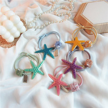 Japanese Exquisite Ocean Series Headdress Beautiful Cute Colorful Starfish Rubber Band Girl Womens Ponytail Hair Accessories