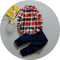 2017 Spring Baby Boys Clothes Cotton Plaid Lapel Collar Blouse Tops+Denim Pants Jeans Clothing Sets Suits roupas de bebes