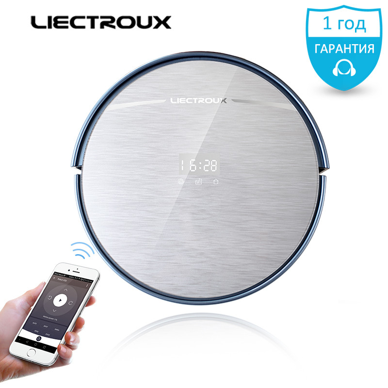 LIECTROUX Robot Vacuum Cleaner X5S MAP mobile WIFI Control Navigation Water Tank Lion battery wet&dry remote home Schedule brush