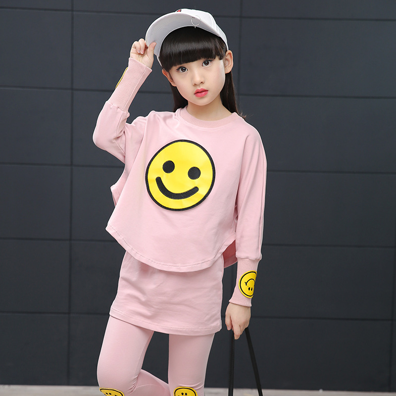 Spring Girls Clothing Sets Cotton Casual Baby Clothes For Girls Full Sleeve T-Shirt + Pants 2Pcs Kids Clothes Big Kids Tracksuit retail girls baby clothes little cow modeling clothes 100% cotton casual t shirt pants suit tracksuit 2