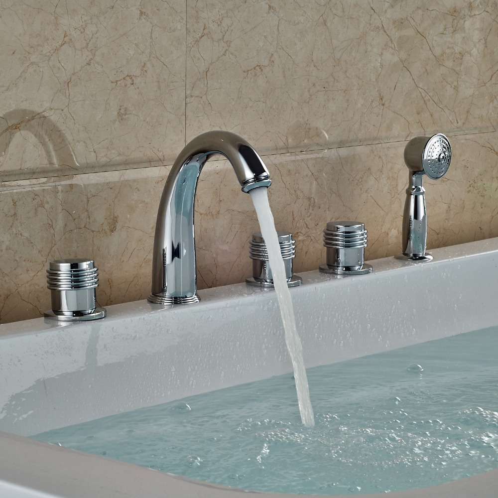 Widespread 5pcs Bathtub Faucet Deck Mounted Shower Faucet With Hand
