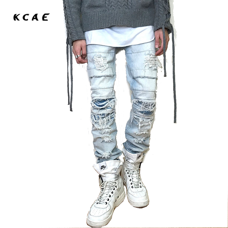 KCAE Brand 2017 New High Street Personality Jeans  Cut Rotten Kan Ye Straight Loose Beggars Pants Men Light Blue And Black