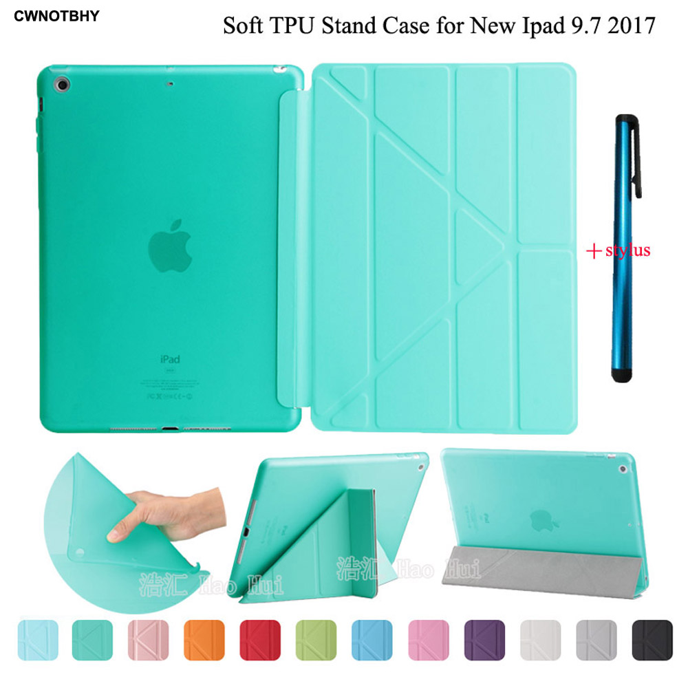 Smart Case For iPad 9.7 2018 2017 A1893/A1954/A1822/A1823 Ultrathin Magnetic Wake/Sleep Soft TPU Back Stand Cover +Stylus tinyffa brand woman wallet female purse women credit card holder for phone coin purse clutch organizer leather ladies walet long
