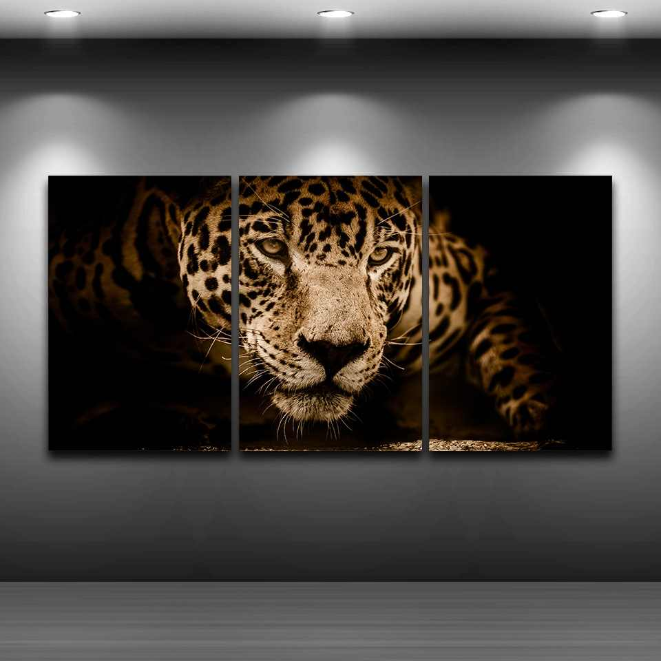 Canvas HD Prints Pictures Home Decor 3 Pieces Jaguar Paintings Abstract Animal Leopard Poster For Living Room Wall Art Framework