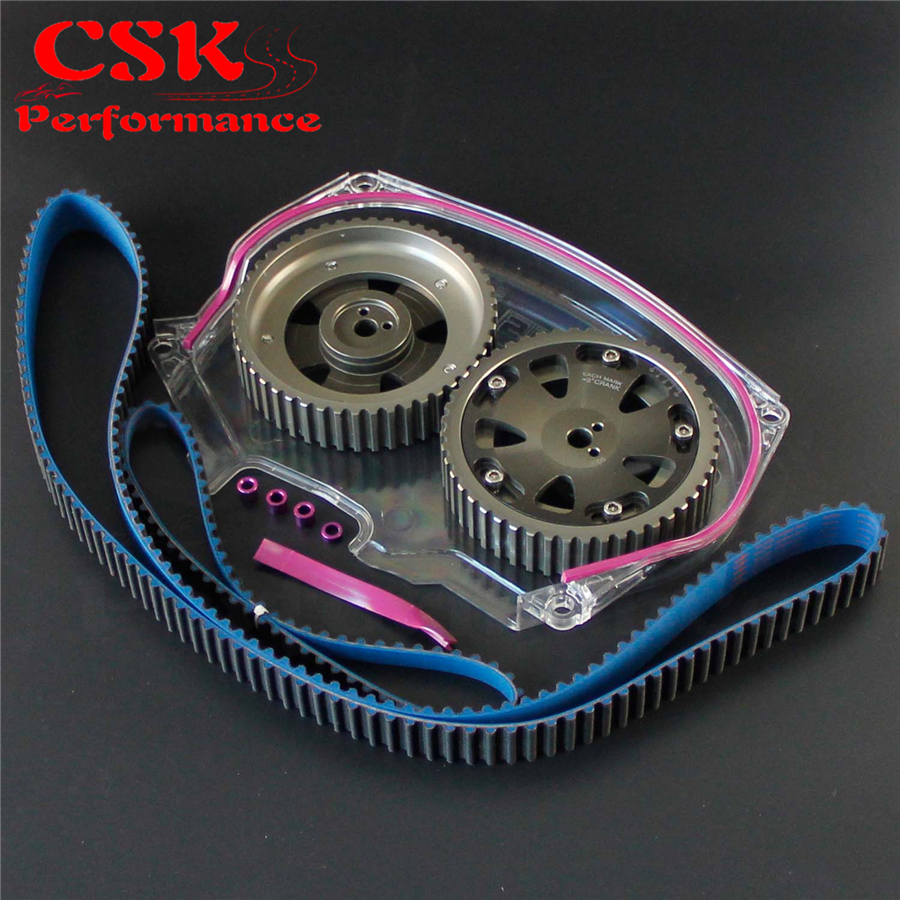 Racing Timing Belt Cover + Cam Pulley + Timing Belt Fits For Lancer Evolution 4G63 EVO 4 5 6 7 8 Blue,Gray,Silver цены