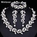 Minlover Color Plata Imitado Perla y Cristal Collar Pendiente de la Pulsera para Las Mujeres Joyería De La Boda TL283 + SL089