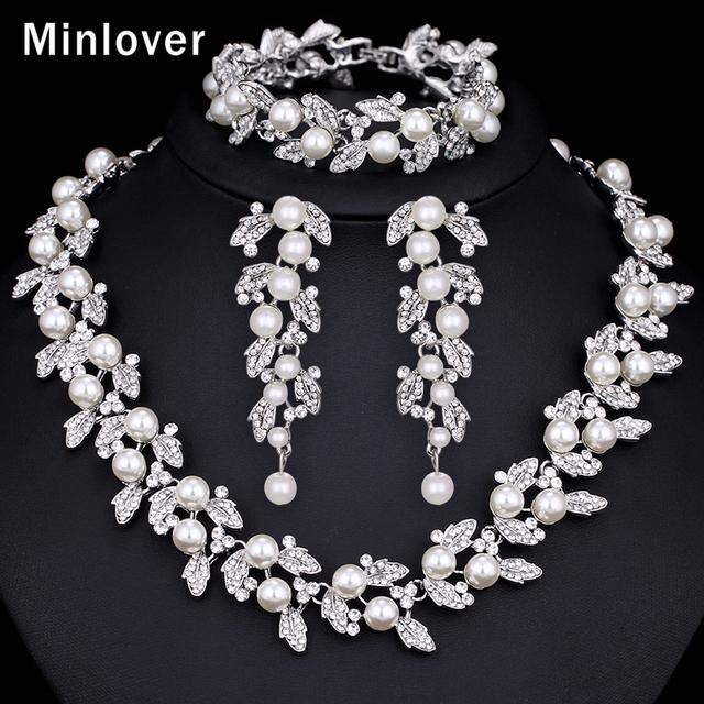 Minlover Prata Cor Imitado Pérola e Colar De Cristal Brinco Pulseira Conjunto para As Mulheres Casamento Jóias TL283 + SL089