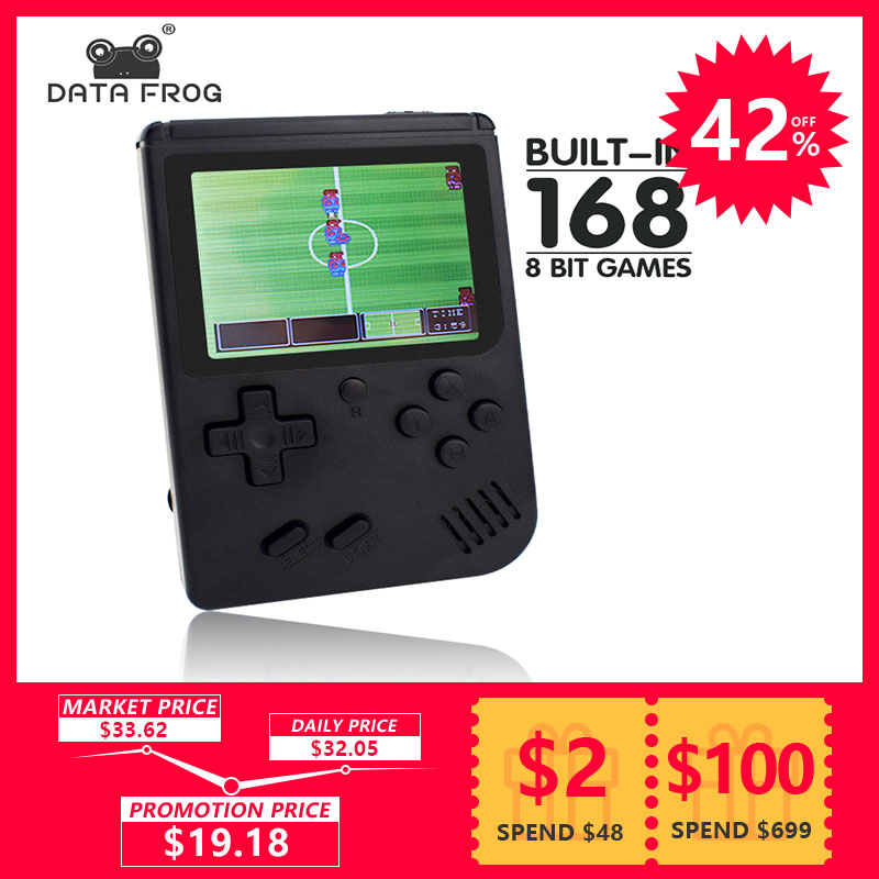Data Frog Retro-FC Mini Video Game Console Built In 168 Retro 8 Bit 3.0 Inch Games AV Out Portable Handheld Game Gift For Kids цена