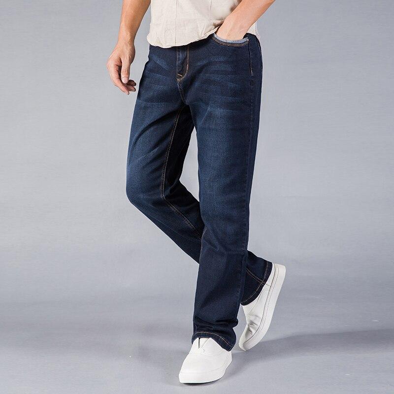 Spring Summer Jeans Men Straight Fit Blue Stretch Denim Pants Large Size Trousers Business Cowboys Man Jean 40 42 44 Size