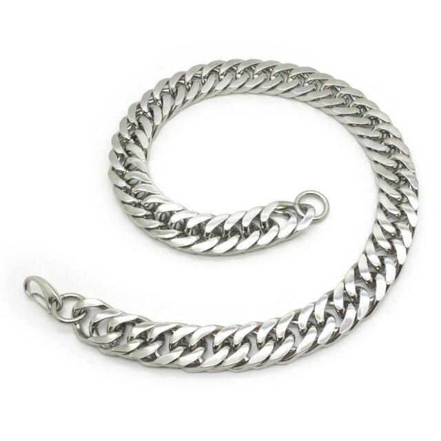 21 мм огромный тяжелая твердого тела серебро тон байкер рок мужские ювелирные изделия, Из нержавеющей стали звеньев цепи ожерелье панк новый подарок вес 375 г