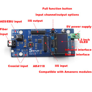 Image 3 - AK4118デジタル受信機ボードオーディオデコーダdac spdif iis同軸光学usb aes ebu入力サポートxmos amanero 1.3インチoled