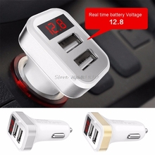 2 1A Dual USB Port Digital LED Voltage Current Display Car Charger Charging Adapter For iPhone iPad Samsung Xiaomi Huawei Phone cheap Car Lighter Slot zhuanchanpinsiquanjia