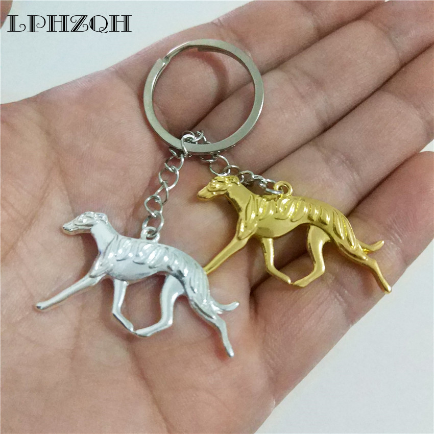 LPHZQH fashion Greyhound dog key chains women bag pendant charm car accessories cute Whippet Key ring trendy jewelery steampunk