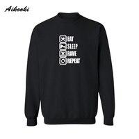 Aikooki Funny Eat Sleep Rave Repeat Game Cotton Sweatshirts Street Wear New Hoodies Men Brand Designer