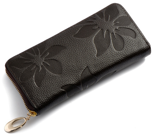 Free Shipping New Fashion Style The best Genuine Leather Zip Around Flower pattern Lady Women Long Wallet Purse Handbag 2014 best quality mochila frozen for the new semester free shipping