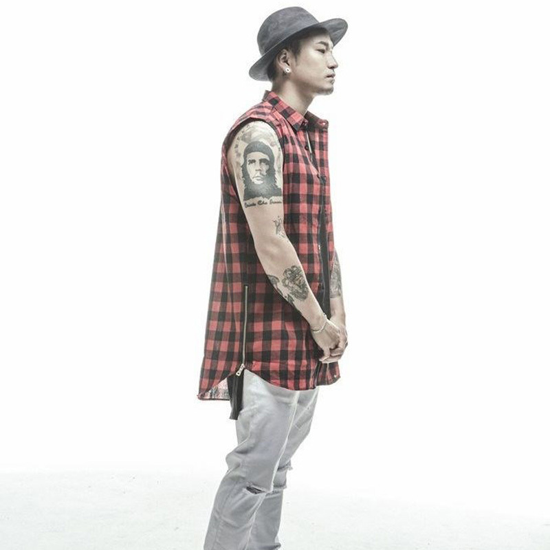 Online Shop 2015 NEW men's popular plaid shirt SLEEVELESS casual-shirt slim  fit mens Side zip shirts HIP HOP STYLE Free Shipping | Aliexpress Mobile - Online Shop 2015 NEW Men's Popular Plaid Shirt SLEEVELESS Casual